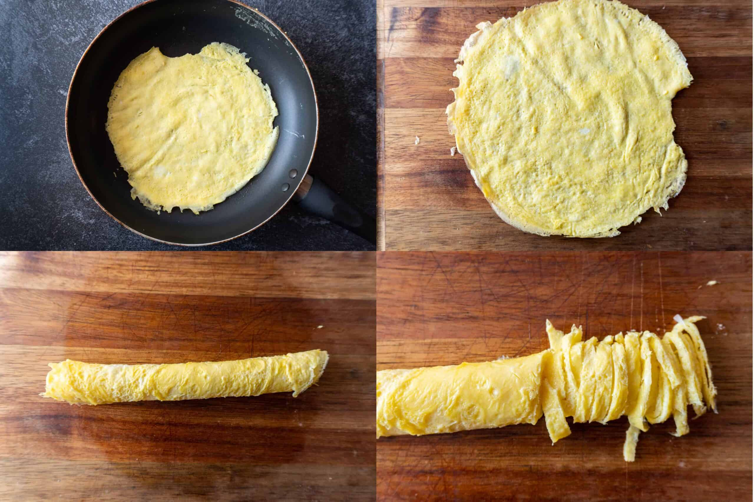 egg ribbon making steps - cook in pan, roll, then slice