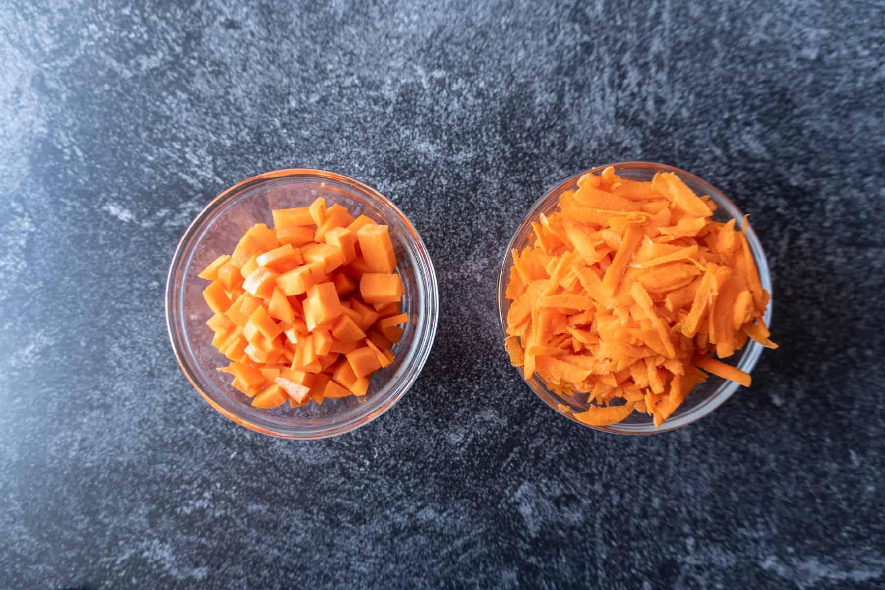 Carrots cubed vs shredded