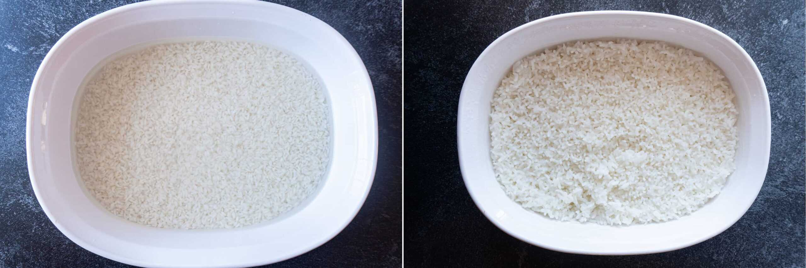 before and after baking rice