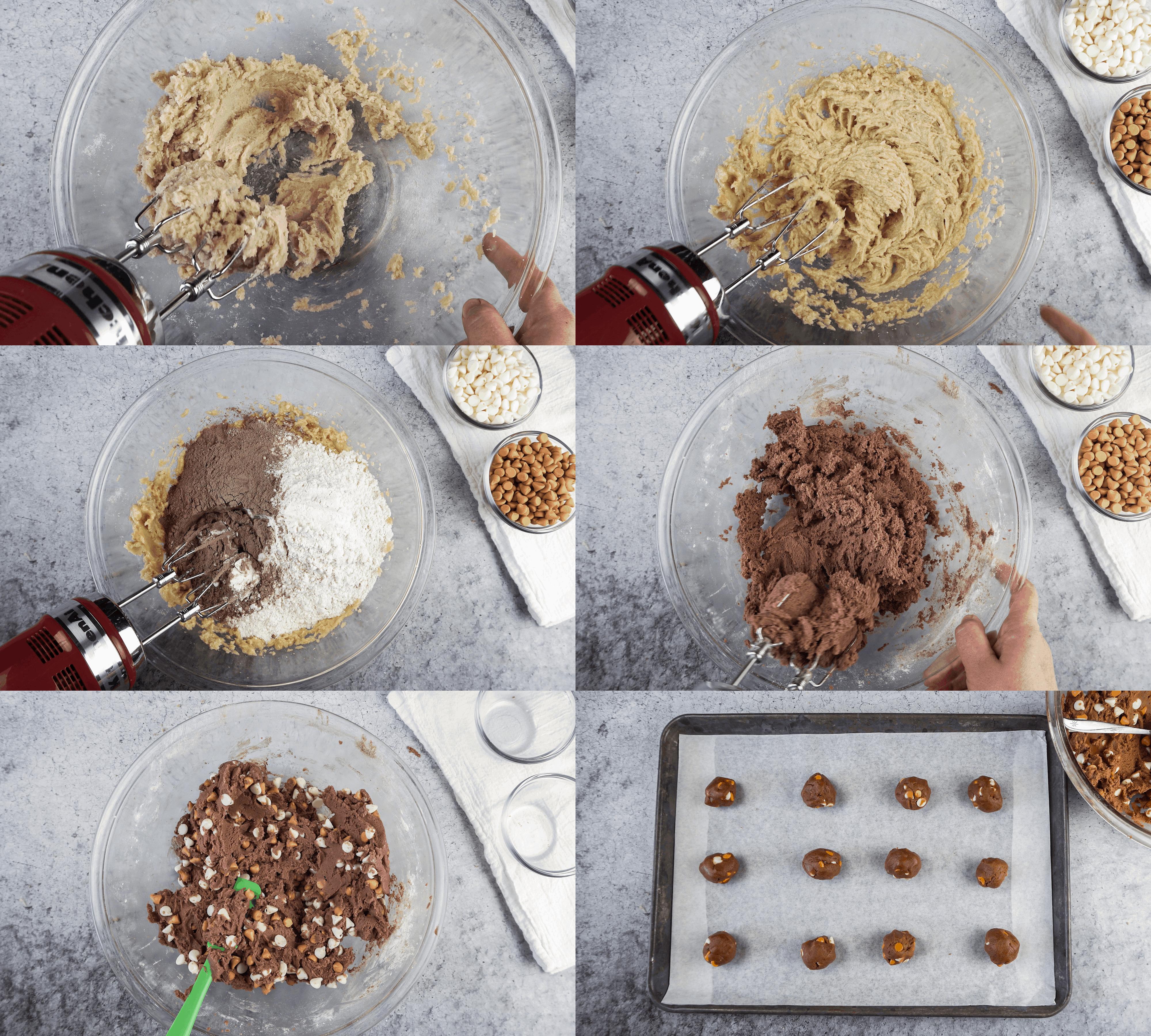 Steps showing batter, adding flour, and final dough