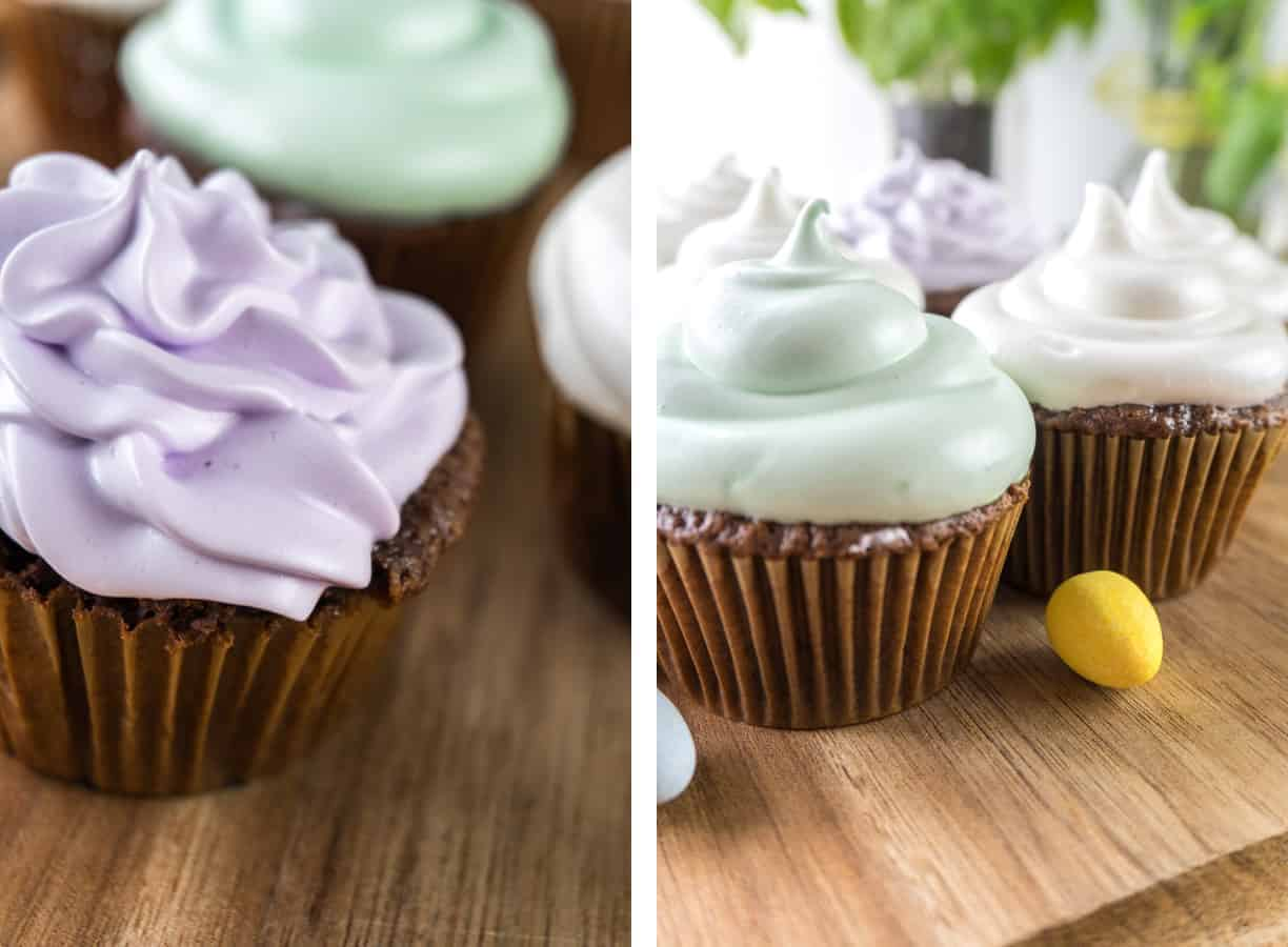 Marshmallow Frosting is a delicious and fun frosting for any cupcake- especially if you dip it in chocolate! #marshamllow #marshmallowfrosting #frosting #easy #atablefullofjoy #highhatcupcake #hihatcupcake #hardshell #easter #easterdessert