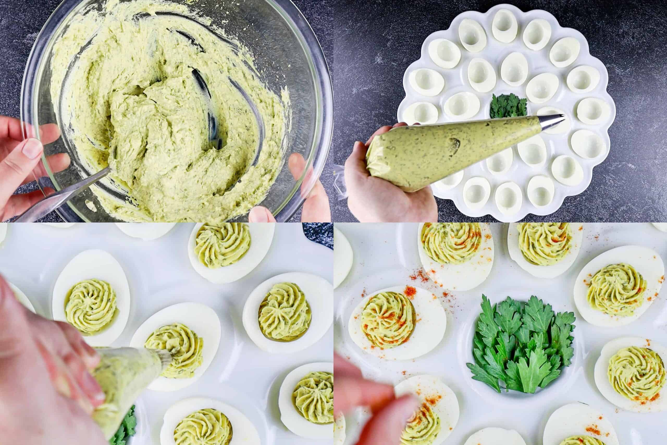 deviled eggs process shots- adding the filing