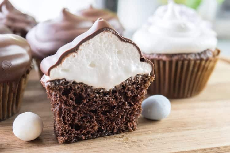 Homemade Chocolate Cupcakes, A fun and delicious cupcake topped with Marshmallow Frosting! #atablefullofjoy #cupcake #chocolate #hihat #easter #marshmallow
