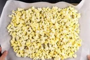 popcorn on baking sheet