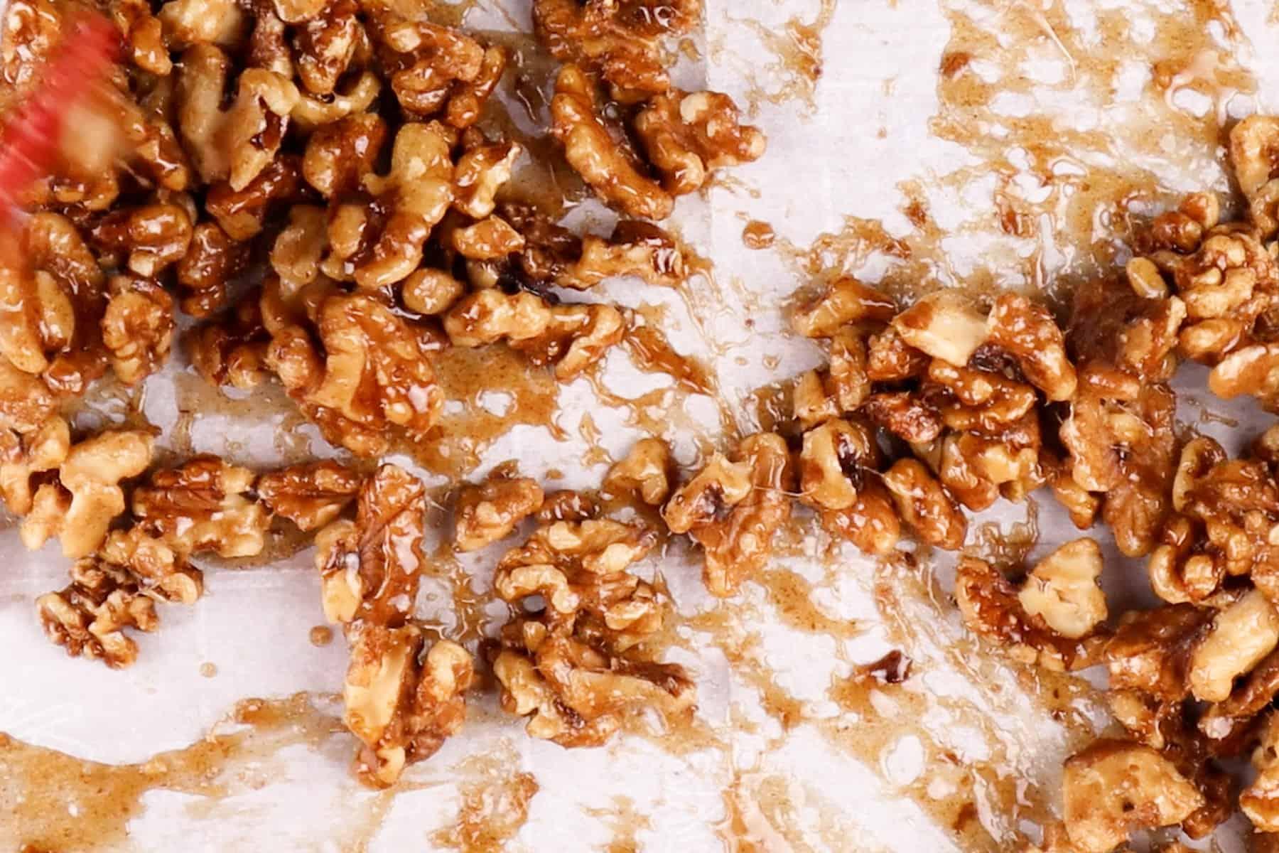 walnuts in bakings heet after baking halfway