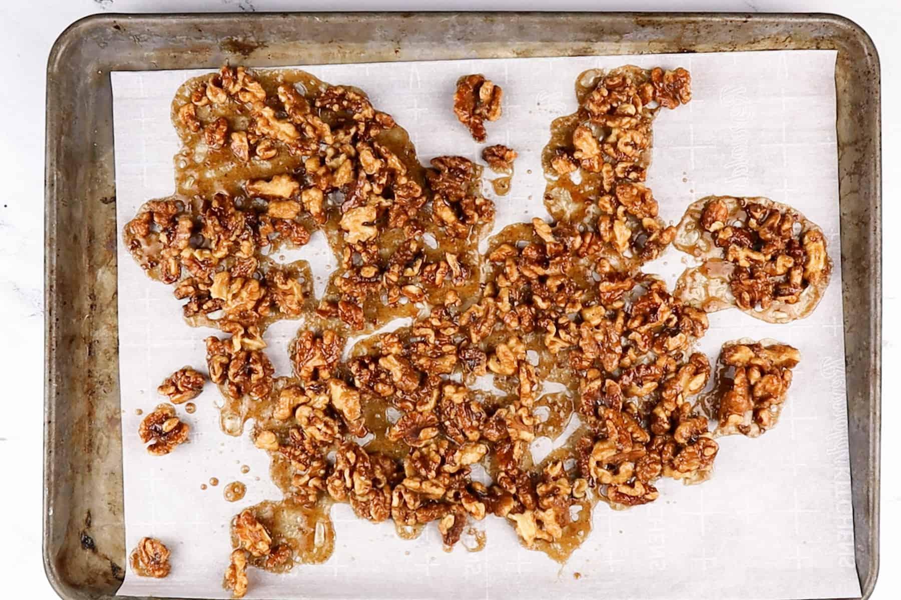 walnuts on baking sheet after baking