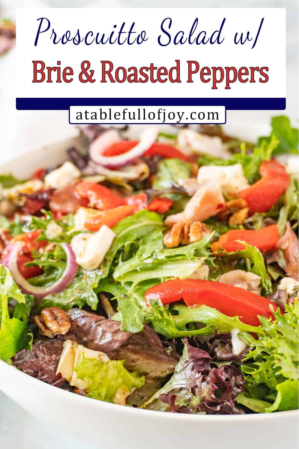 white salad bowl filled with salad mix, prosciutto, brie, red onion pinterest pin