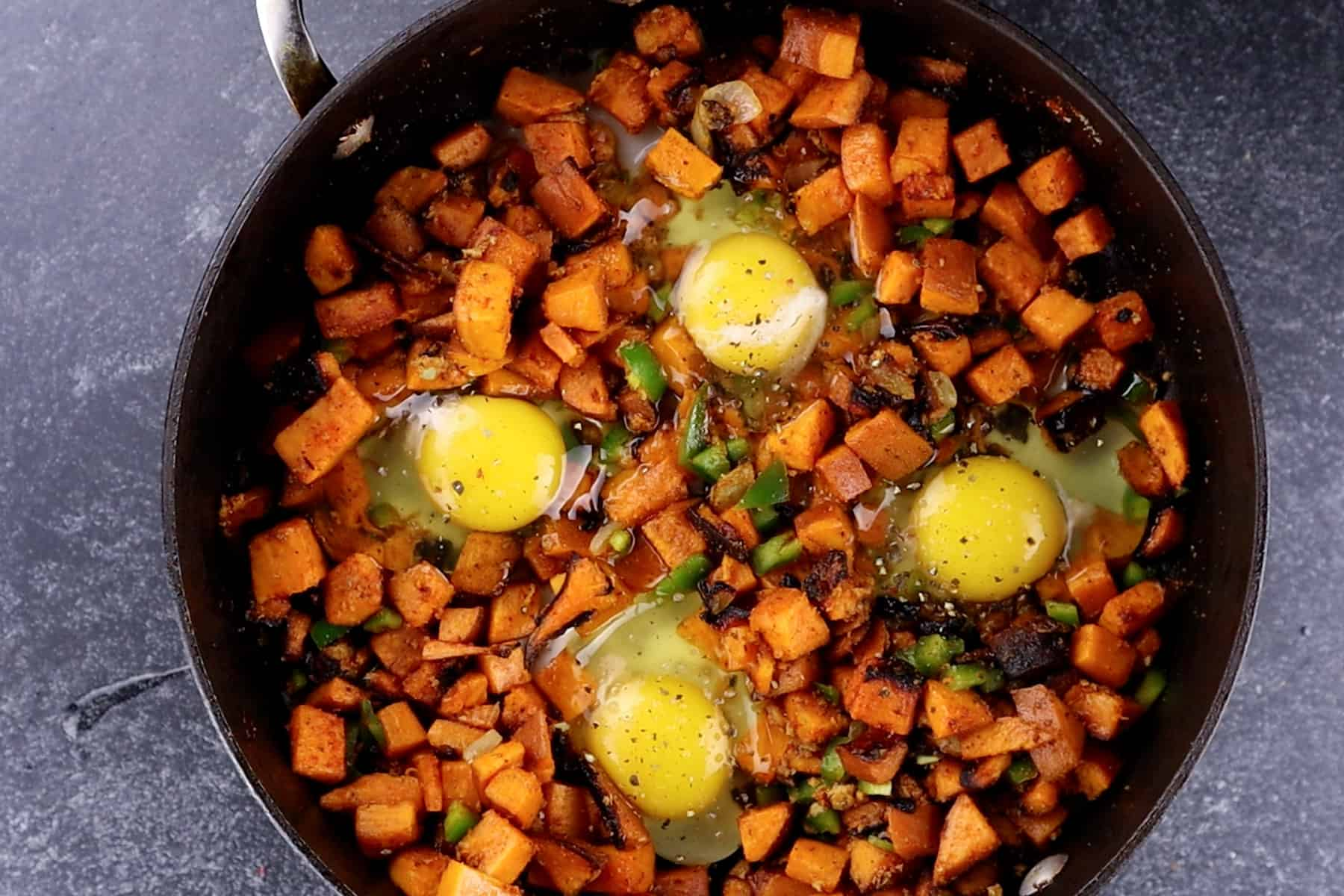 eggs added to skillet