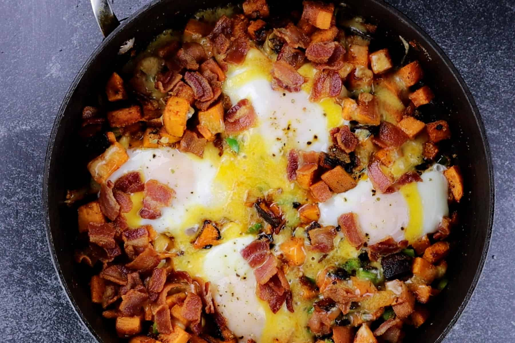 eggs cooked in skillet