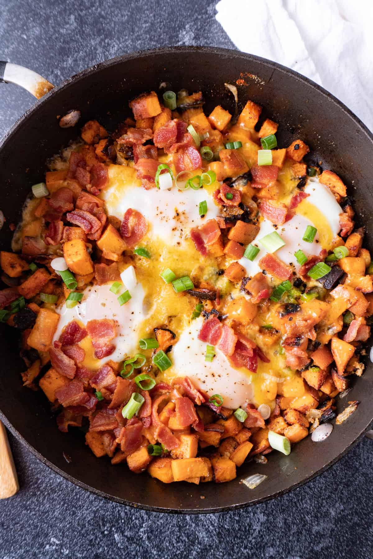 sweet potato breakfast skillet in pan