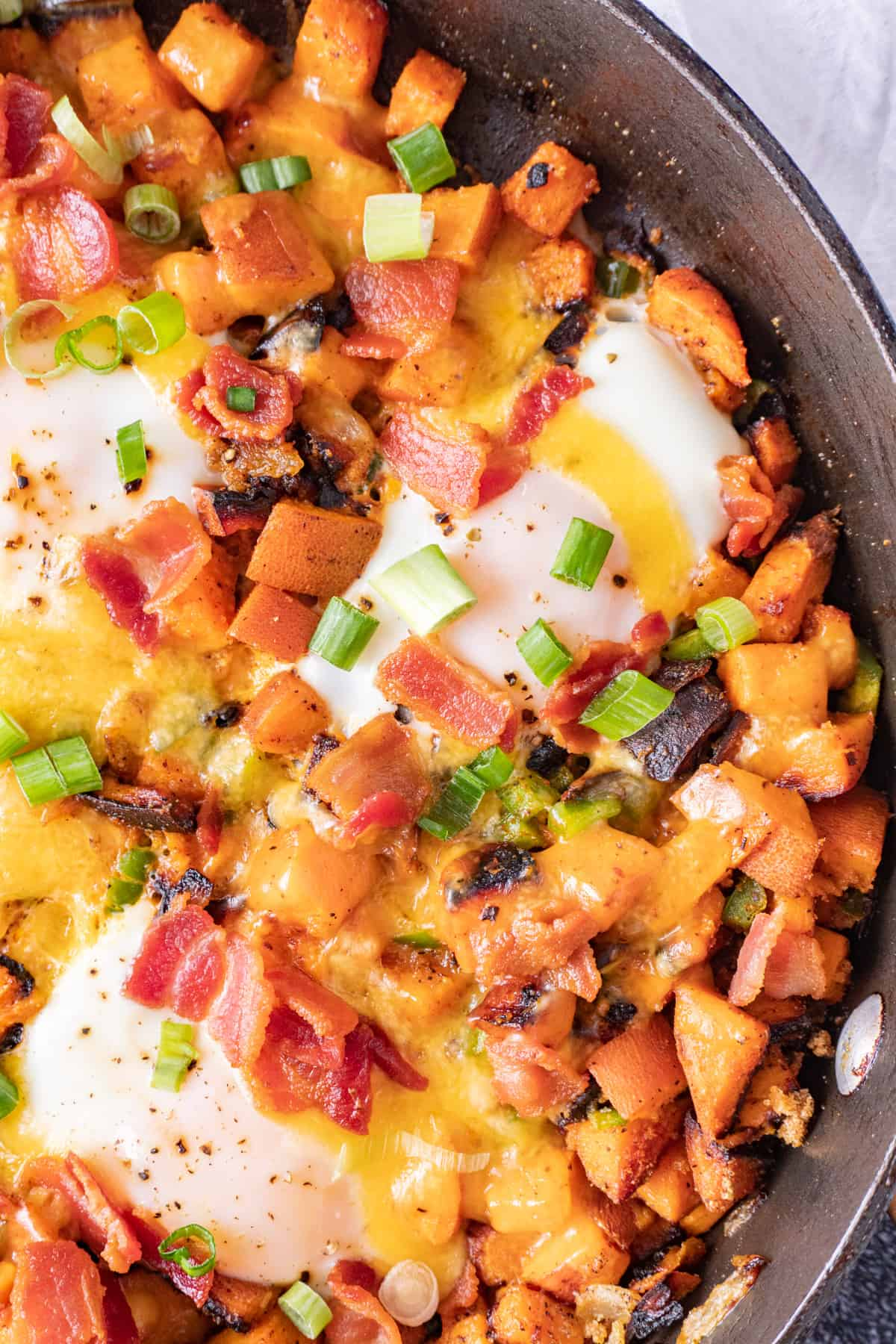 sweet potato breakfast skillet in pan close up