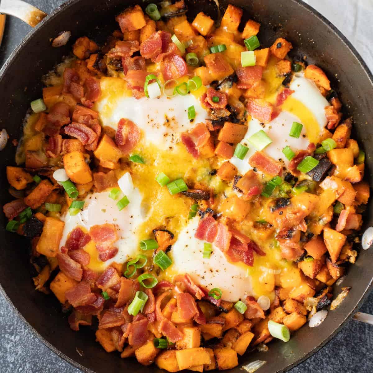 sweet potato breakfast skillet in pan featured image