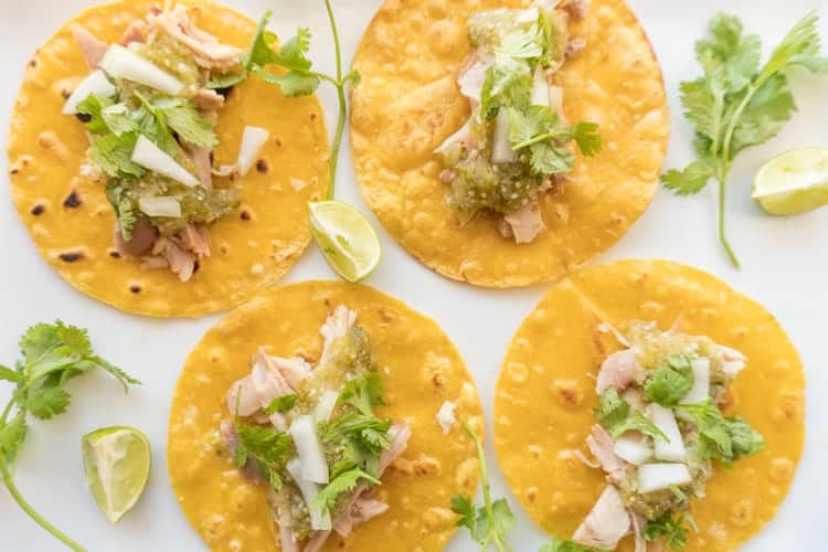 Chicken Tacos with Easy Tomatillo Salsa
