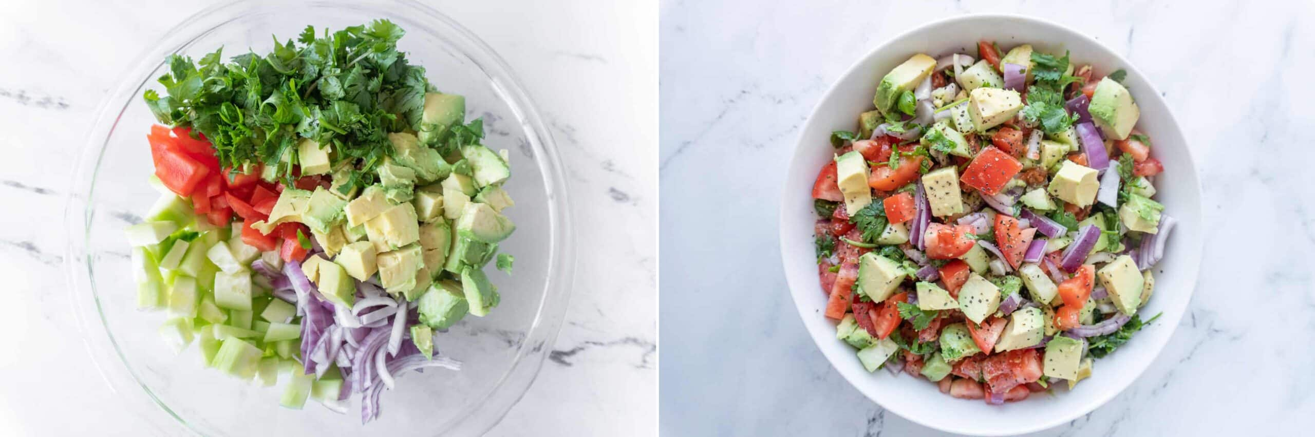 Cucumber Avocado Salad before and after mixing