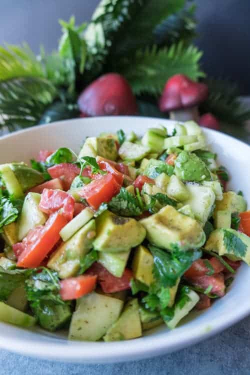 Cucumber Avocado Salad, This cucumber avocado salad is easy to make and perfect for summer! You will want to make this again and again! #cucumber #healthy #avocado #atablefulofjoy #tomatoes #summer