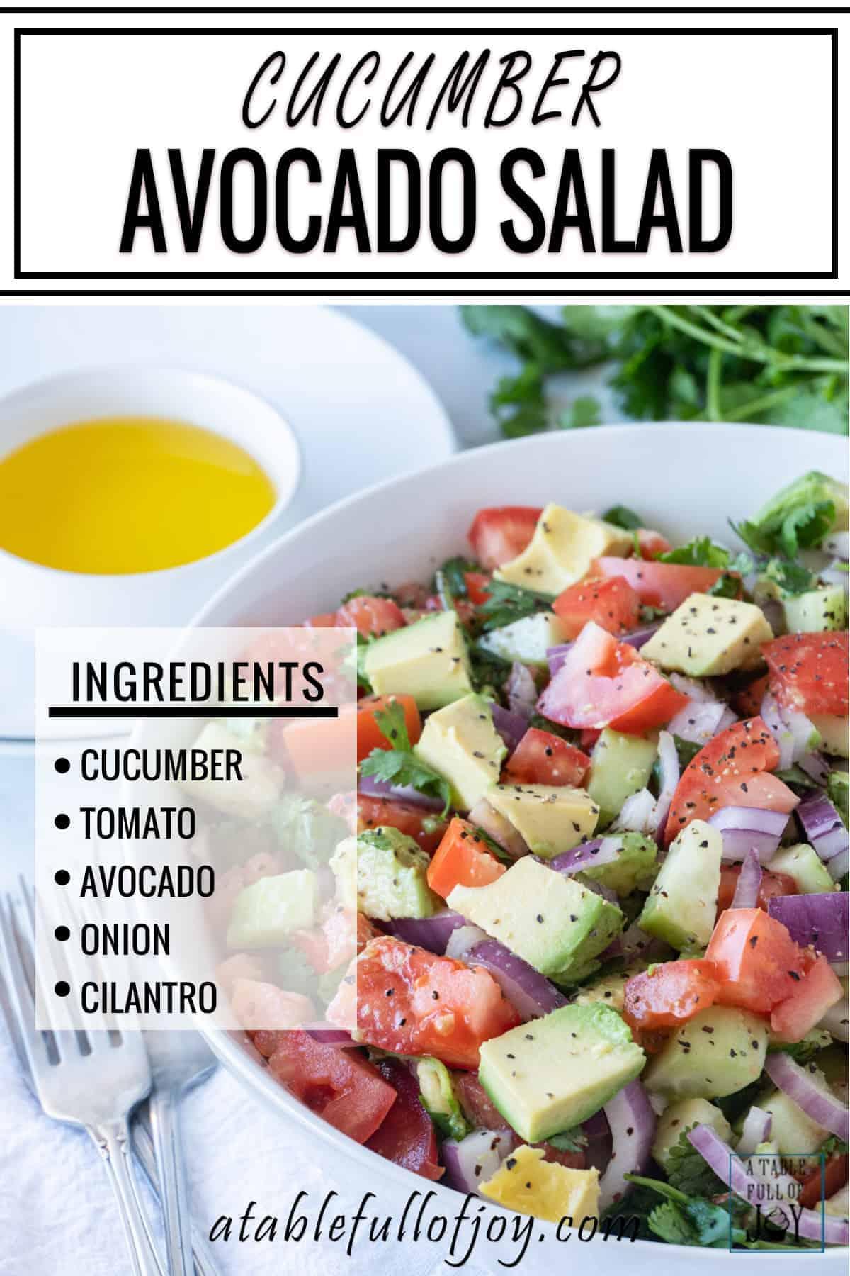 Cucumber Avocado Salad Pinterest Pin