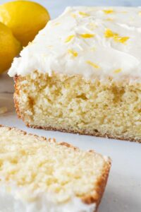 Lemon cake with slice cut