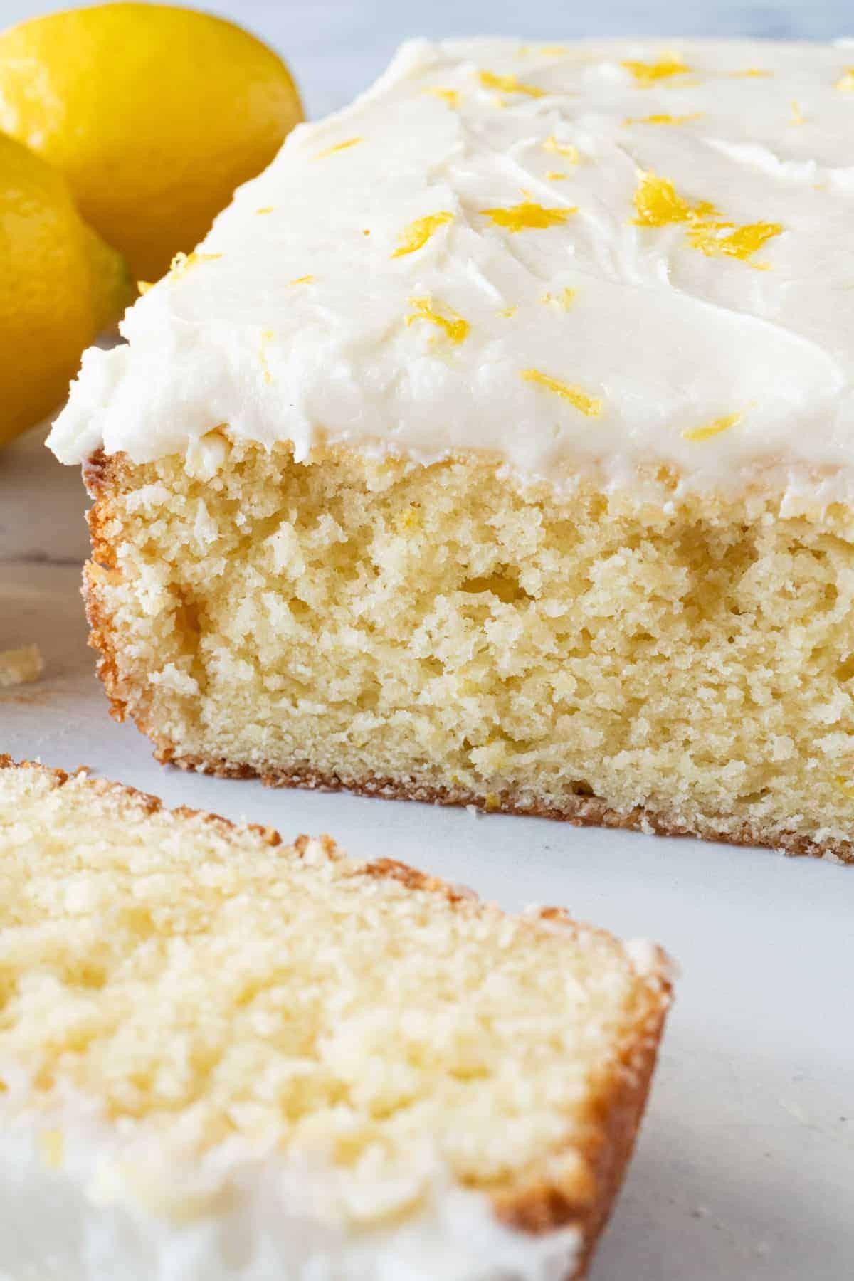 Lemon cake with slice cut
