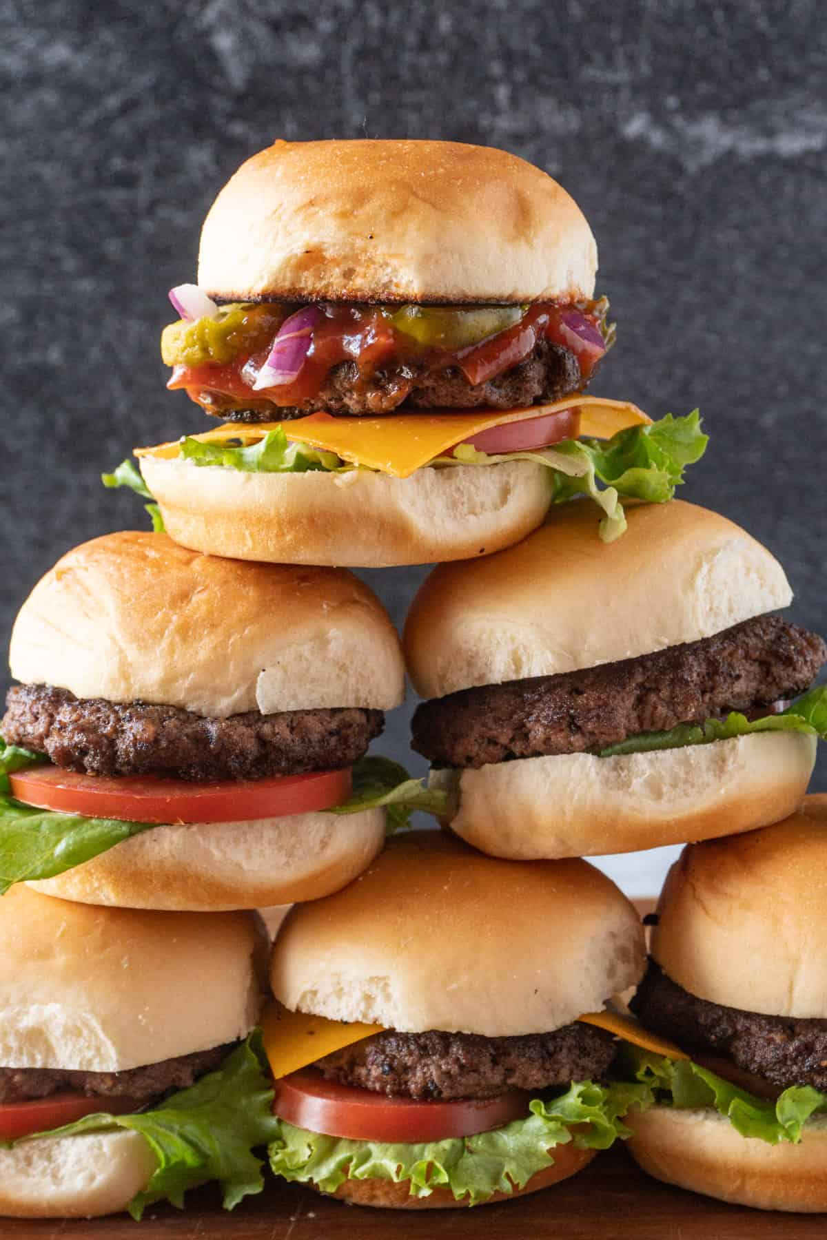 Sliders staced in a pyramid