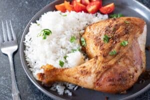 Smoked Chicken on plate with rice