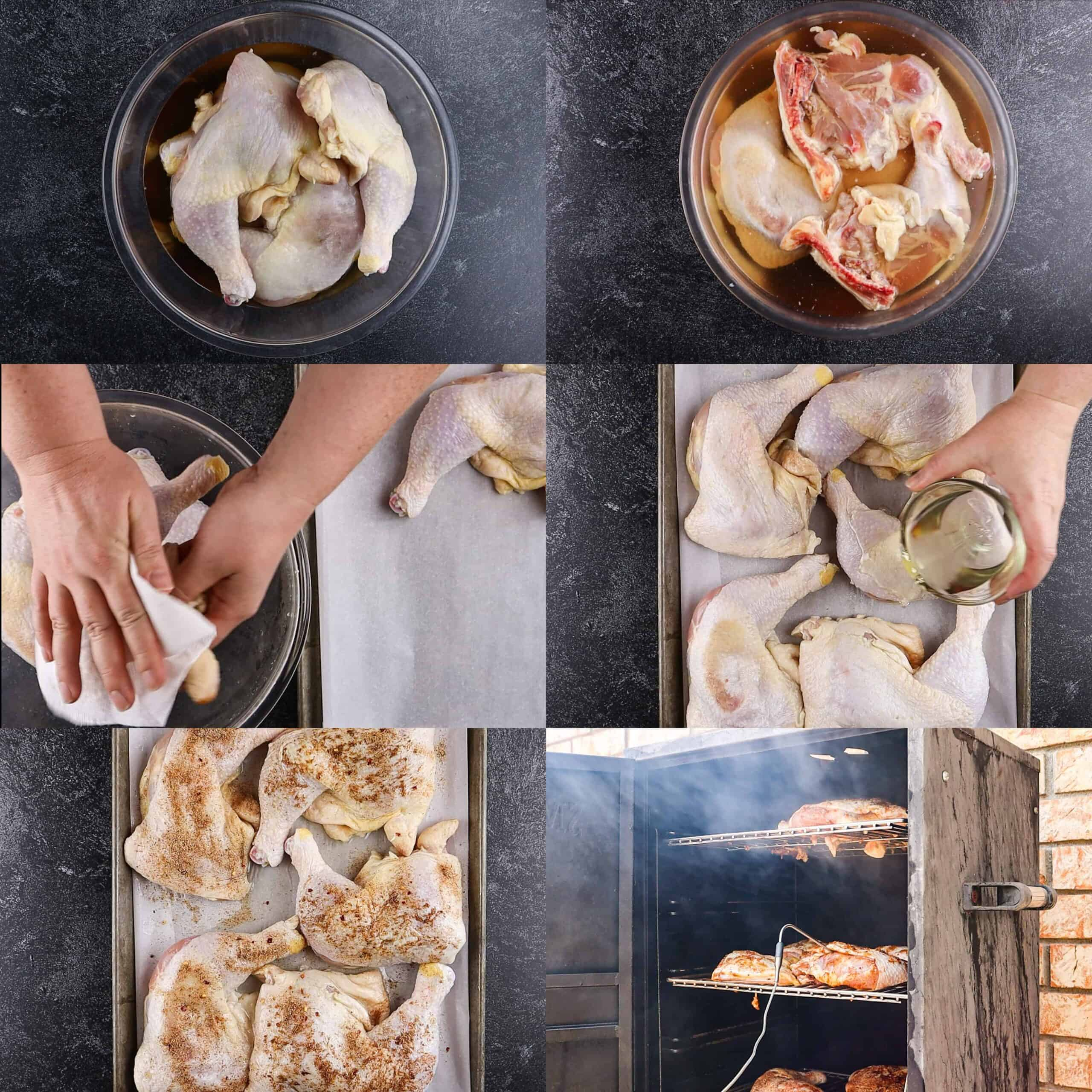 steps for making smoked chicken- brining, dry, oil, season, smoke