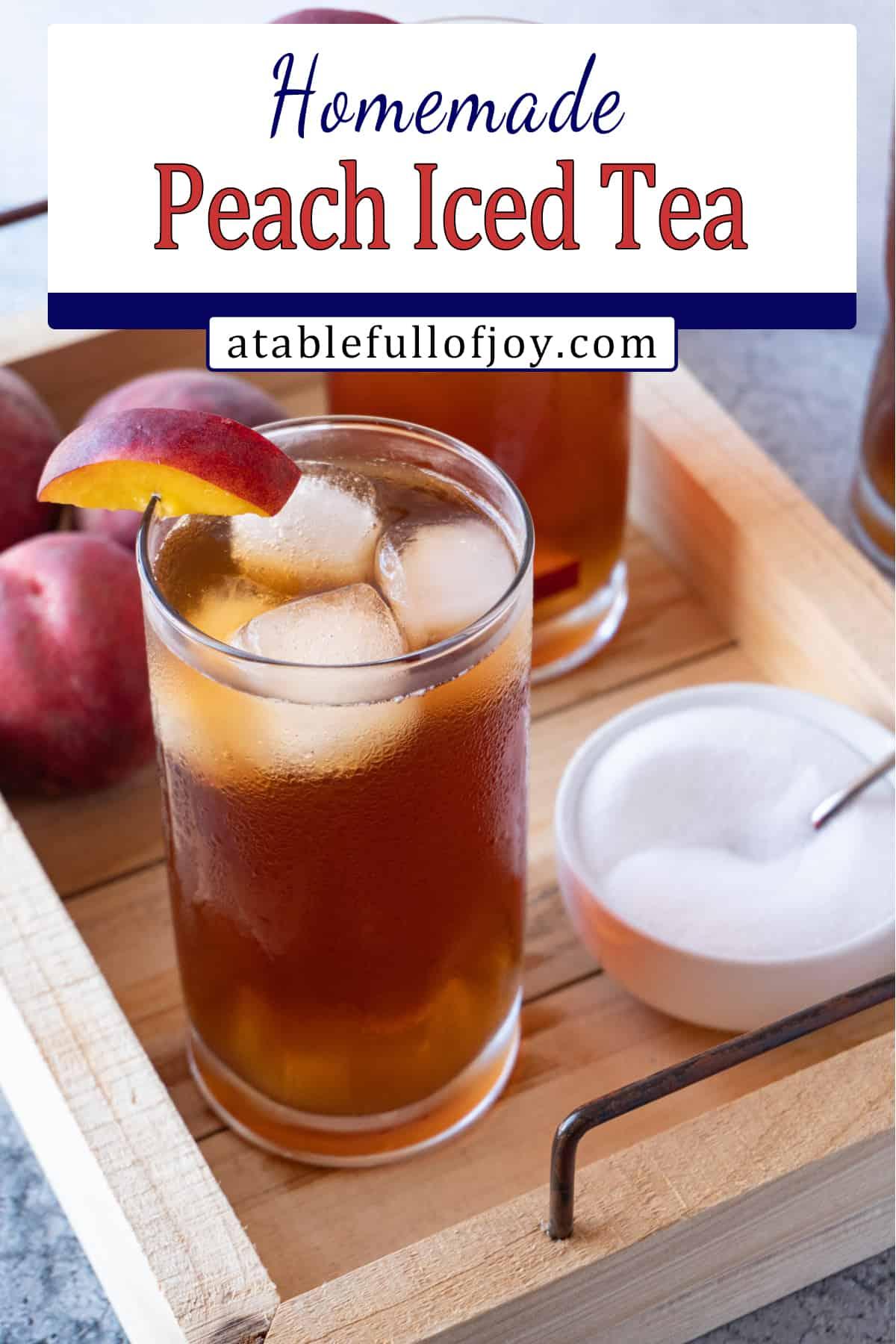 peach tea in class on wooden tray Pinterest pin