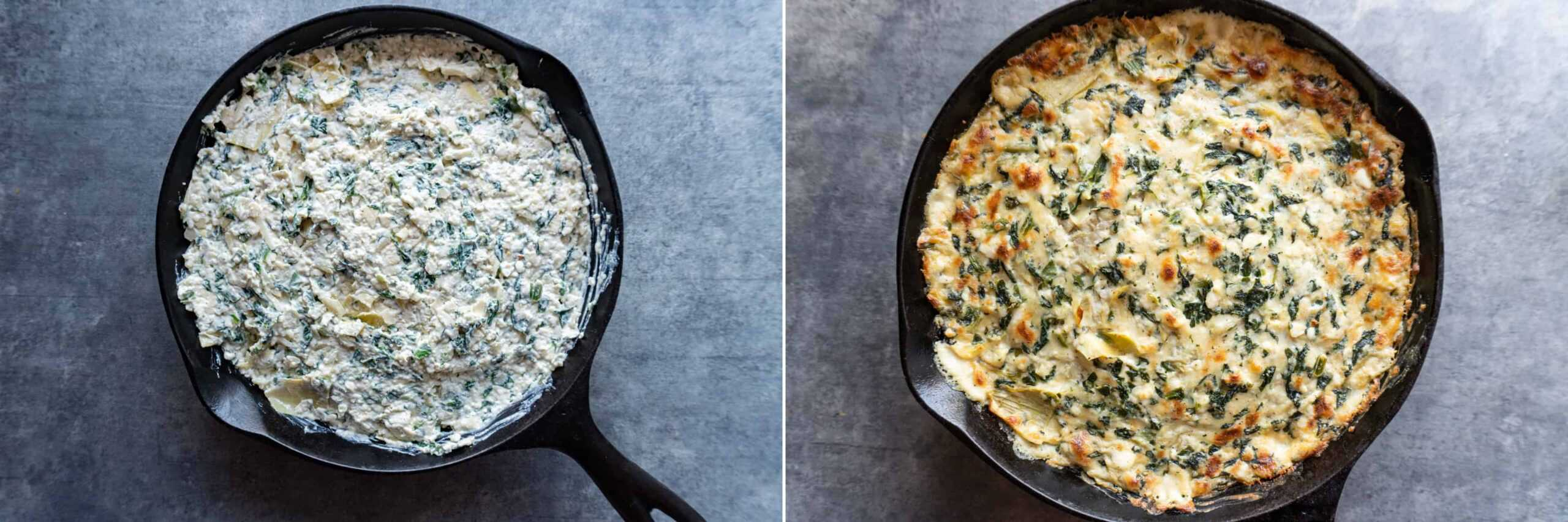Before and after baking artichoke dip