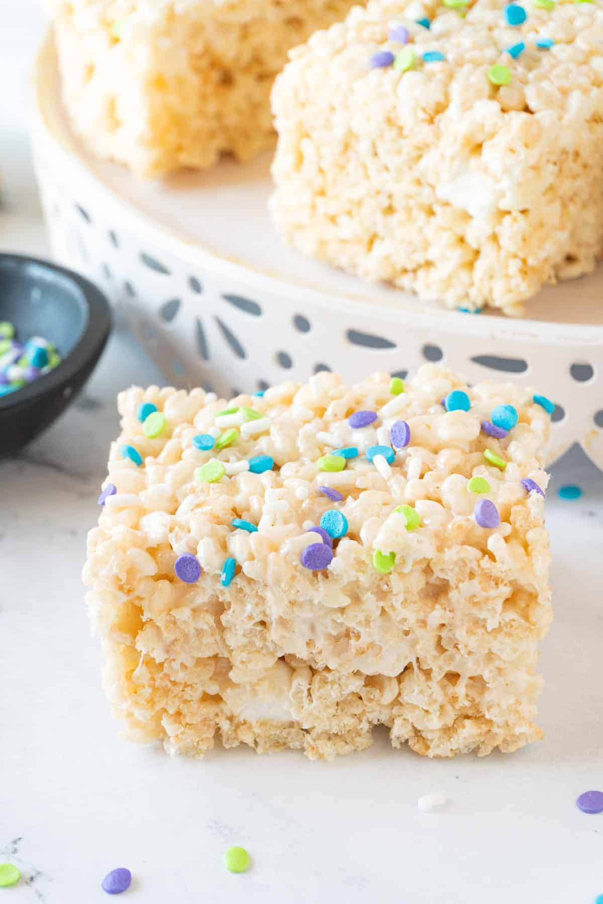 Side view of rice crispy treat to see trhickness and marshmallows in it