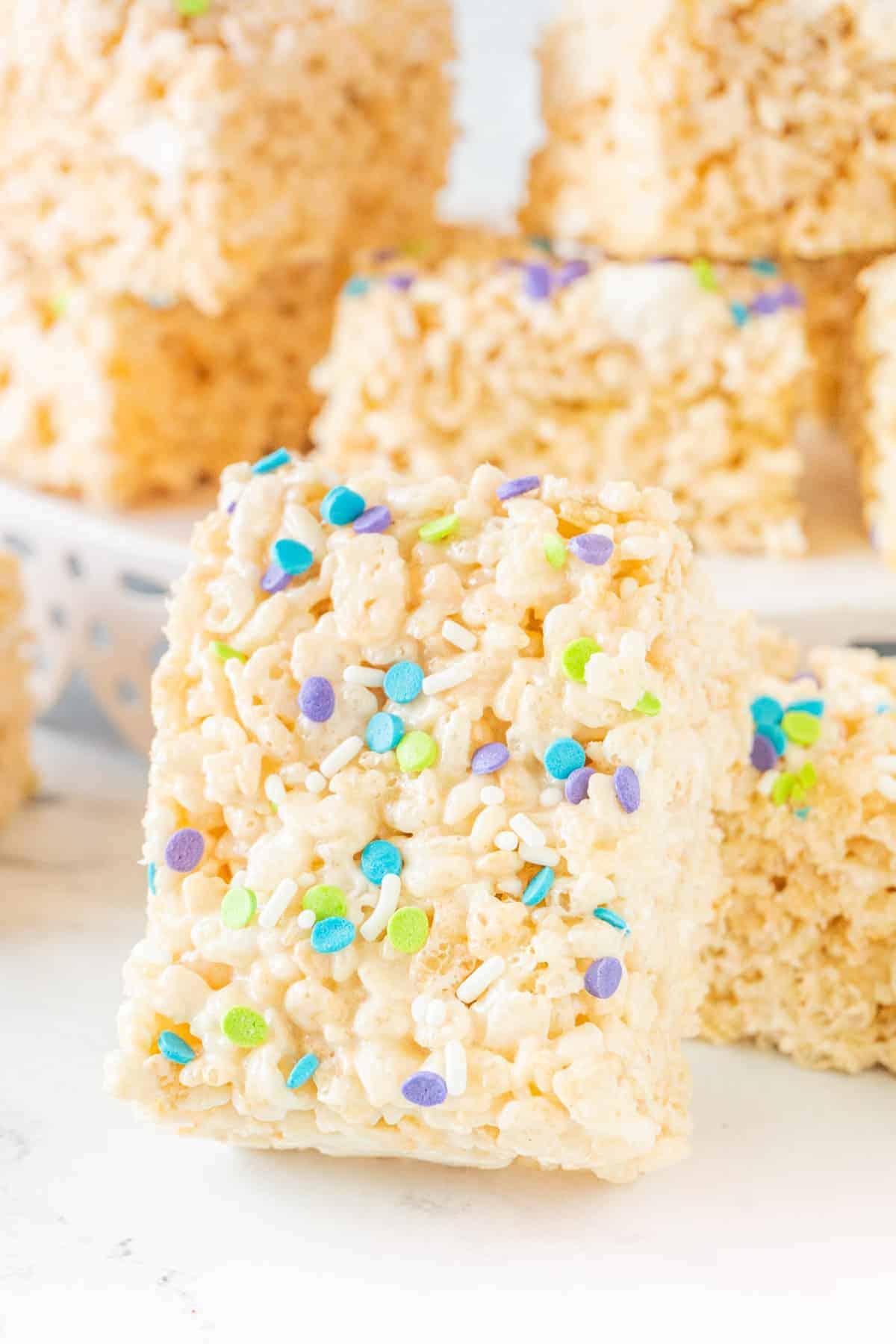 Rice Crispy Treat leaning against other rice crispy treats