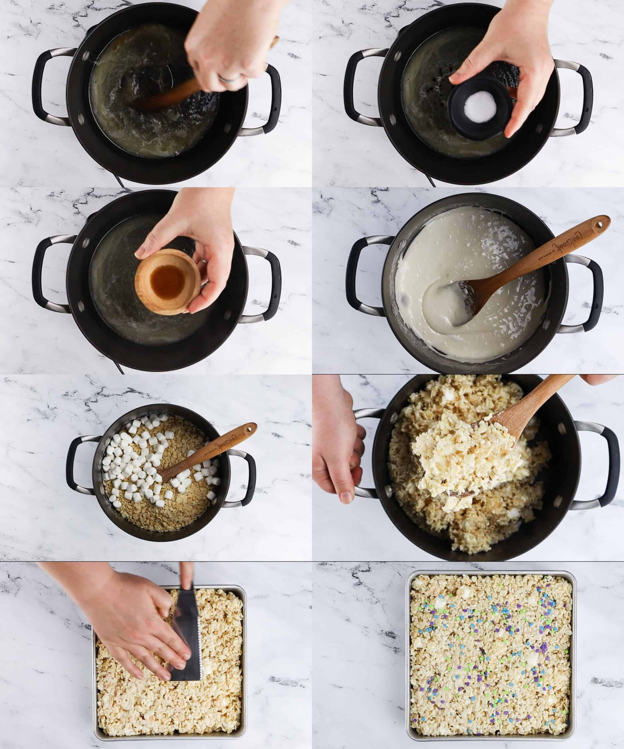 Process Shots of making the rice crispy treats- adding all ingredients, mixing and placing in baking dish
