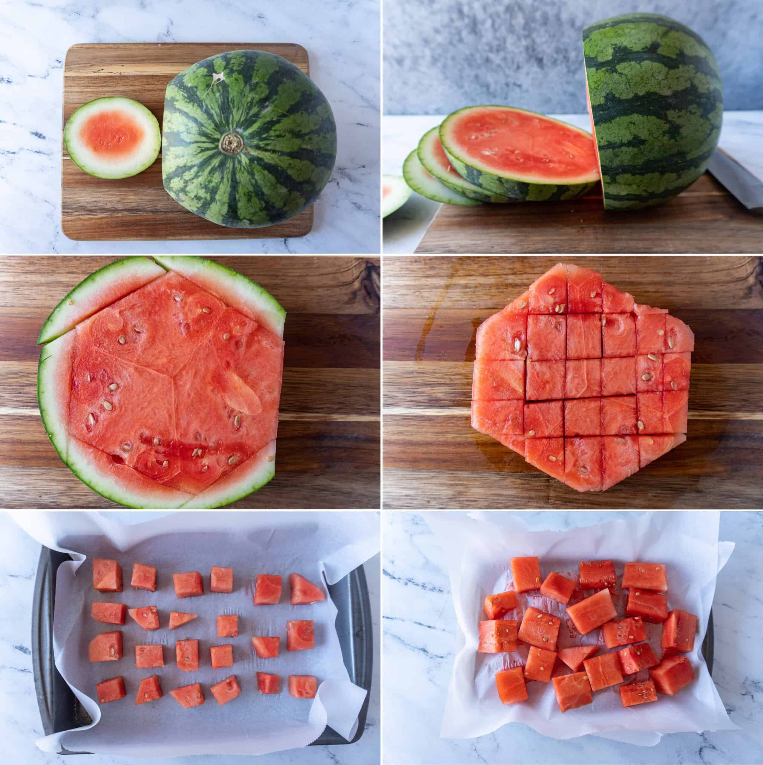 Process shots of how to cut and freeze watermelon
