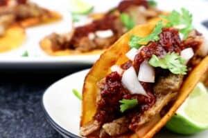 Closeup of carnita taco