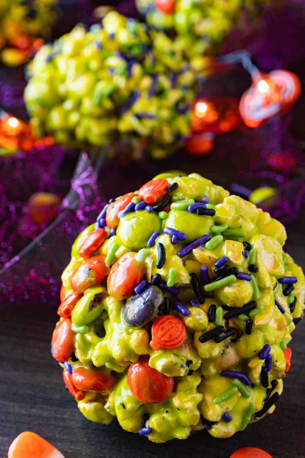 popcorn ball close up