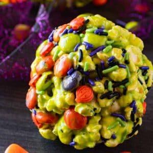 halloween popcorn balls featured image