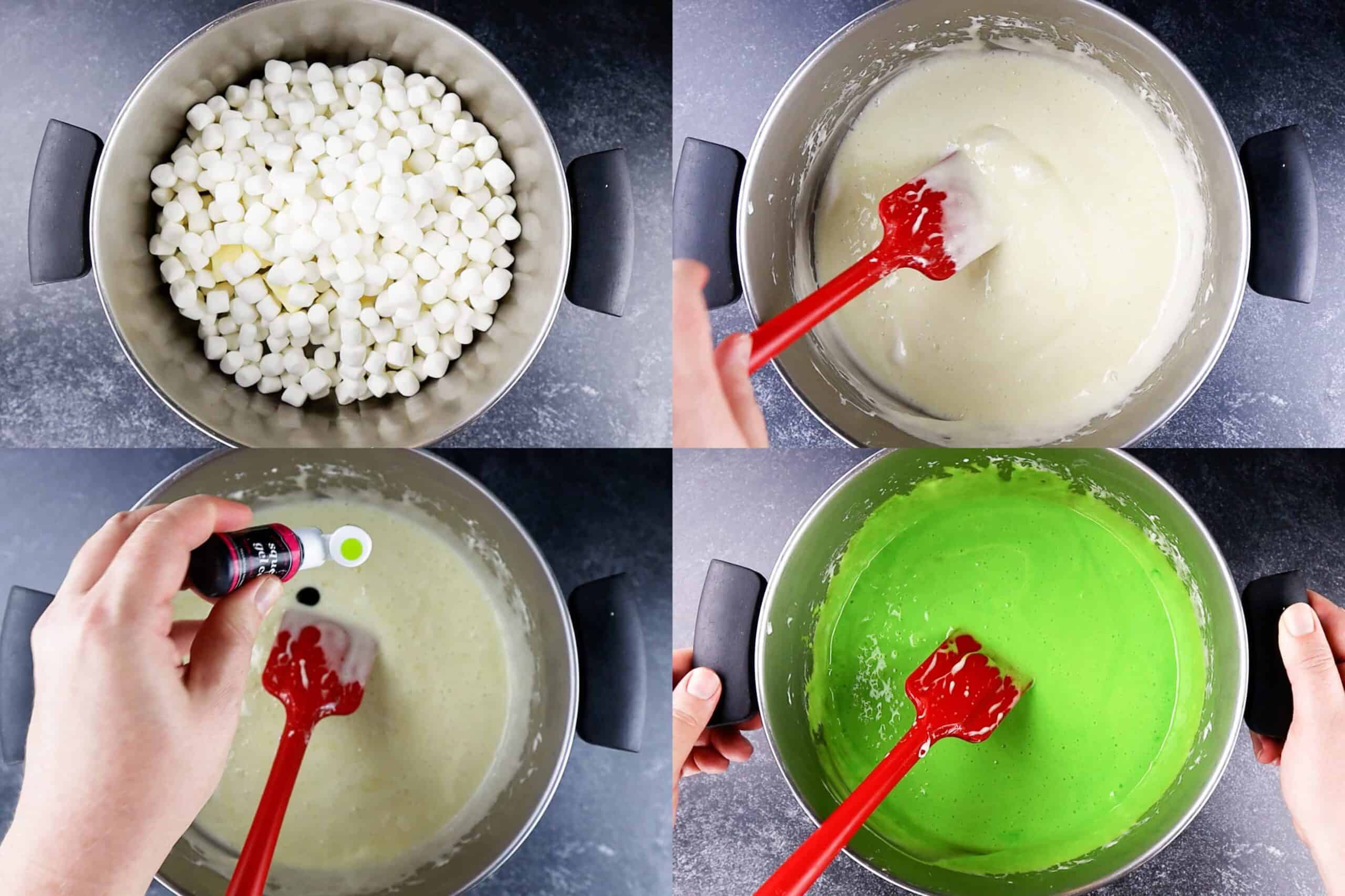 melting marshmallow and butter and mixing in green food coloring