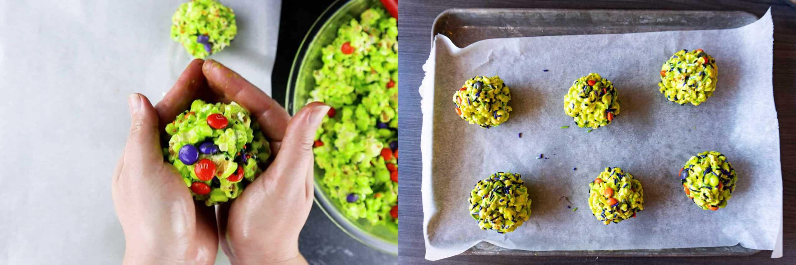 shaping the popcorn balls