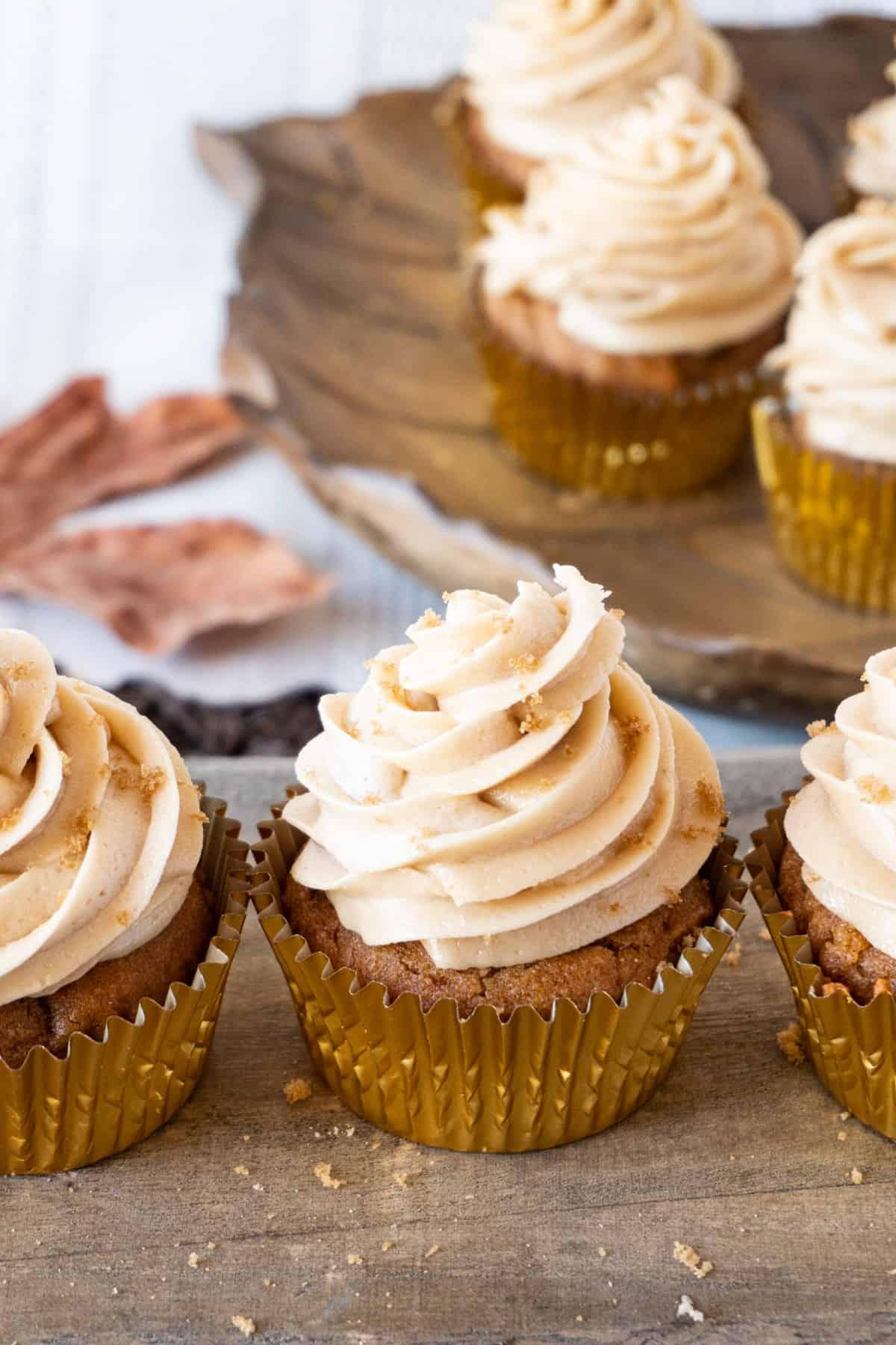 sweet potato cupcakes with fall decor