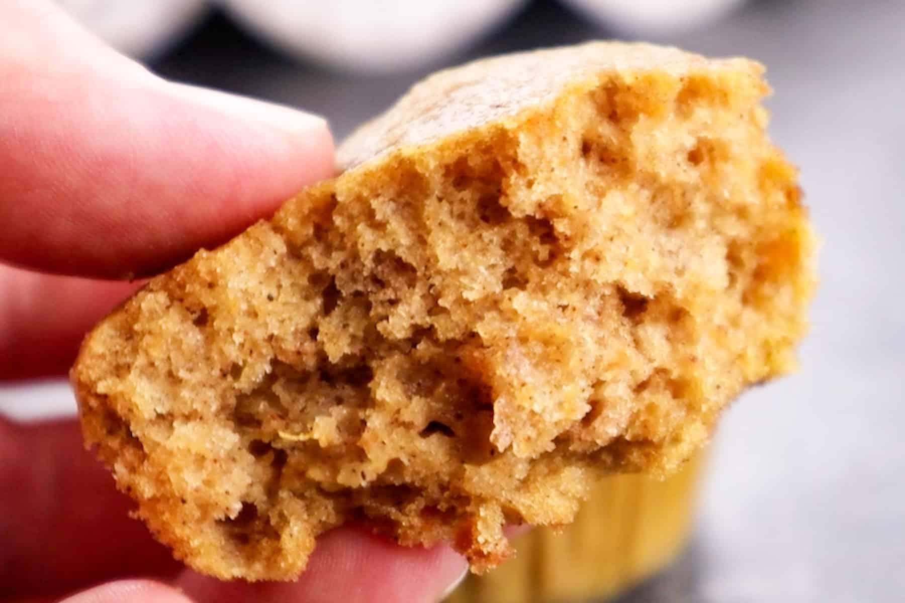 baked cupcake cut in half