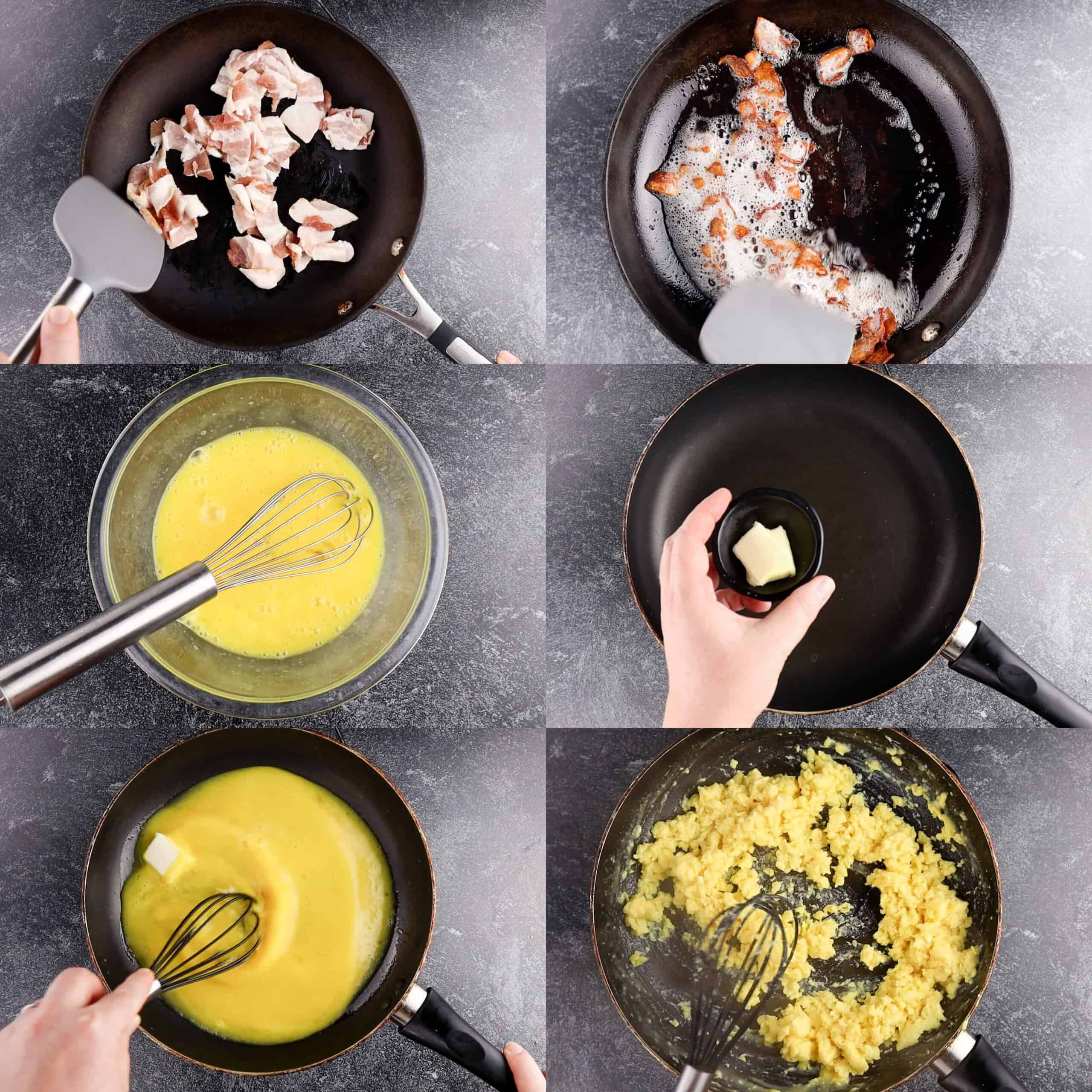 process shots of making baon and eggs