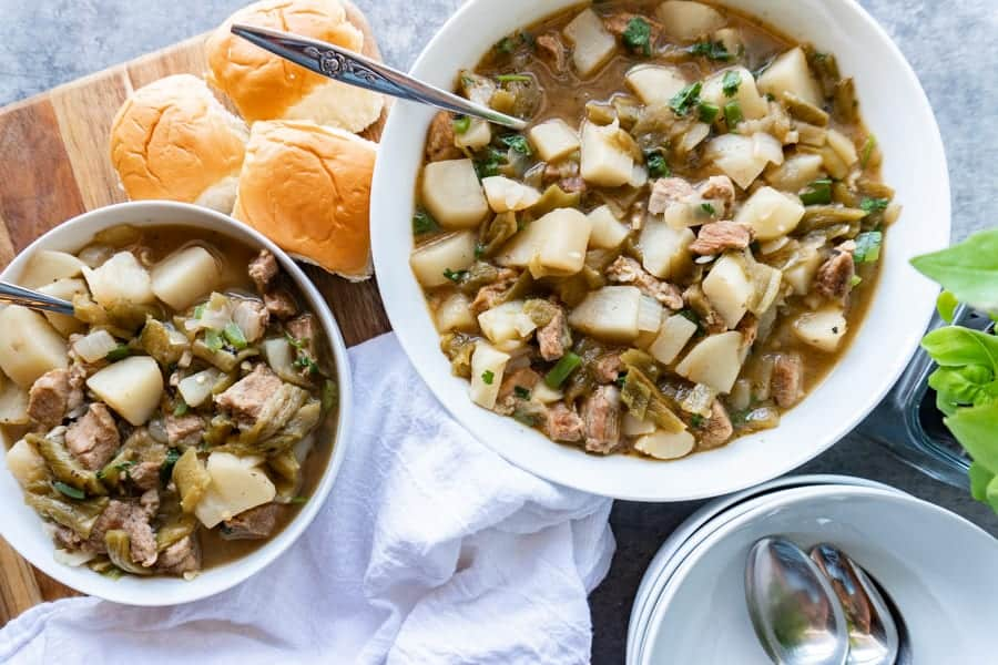 New Mexican Green Chile Stew, This green chile stew is perfect for any cold fall night! You won't be able to stop eating it! #atablefullofjoy #greenchile #newmexico #nmtrue #stew #fall #delish #hatch