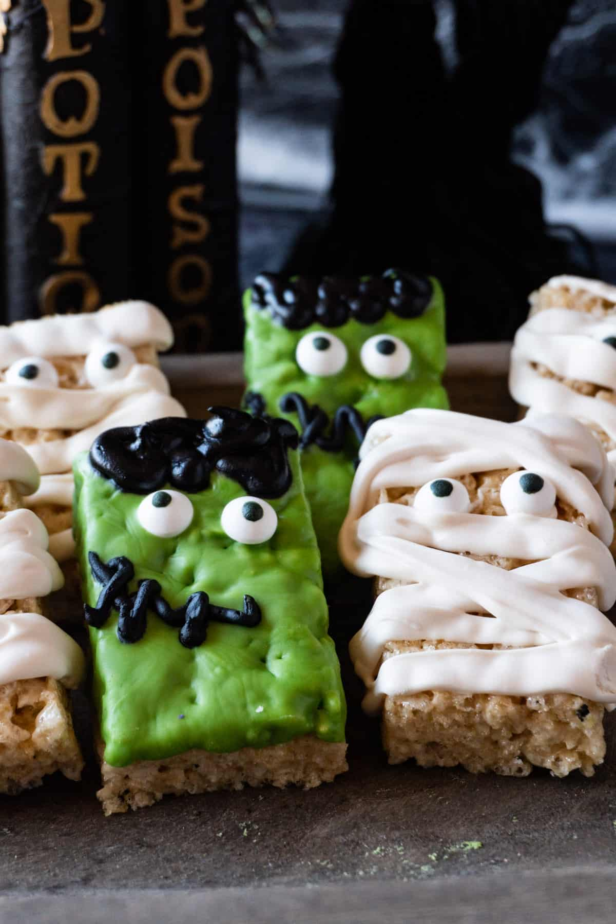 Frankenstein and Mummy rice crispy treats close up