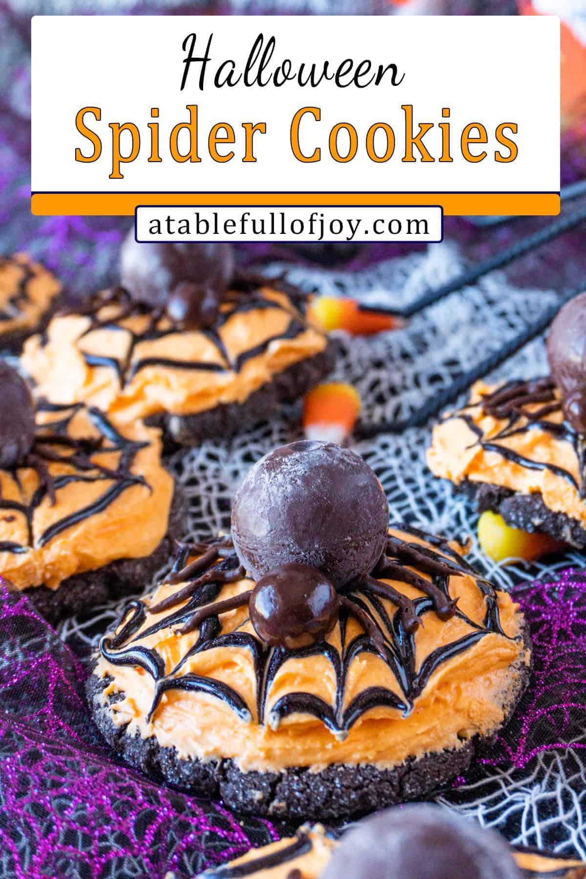Halloween Spider Cookies pinterest pin
