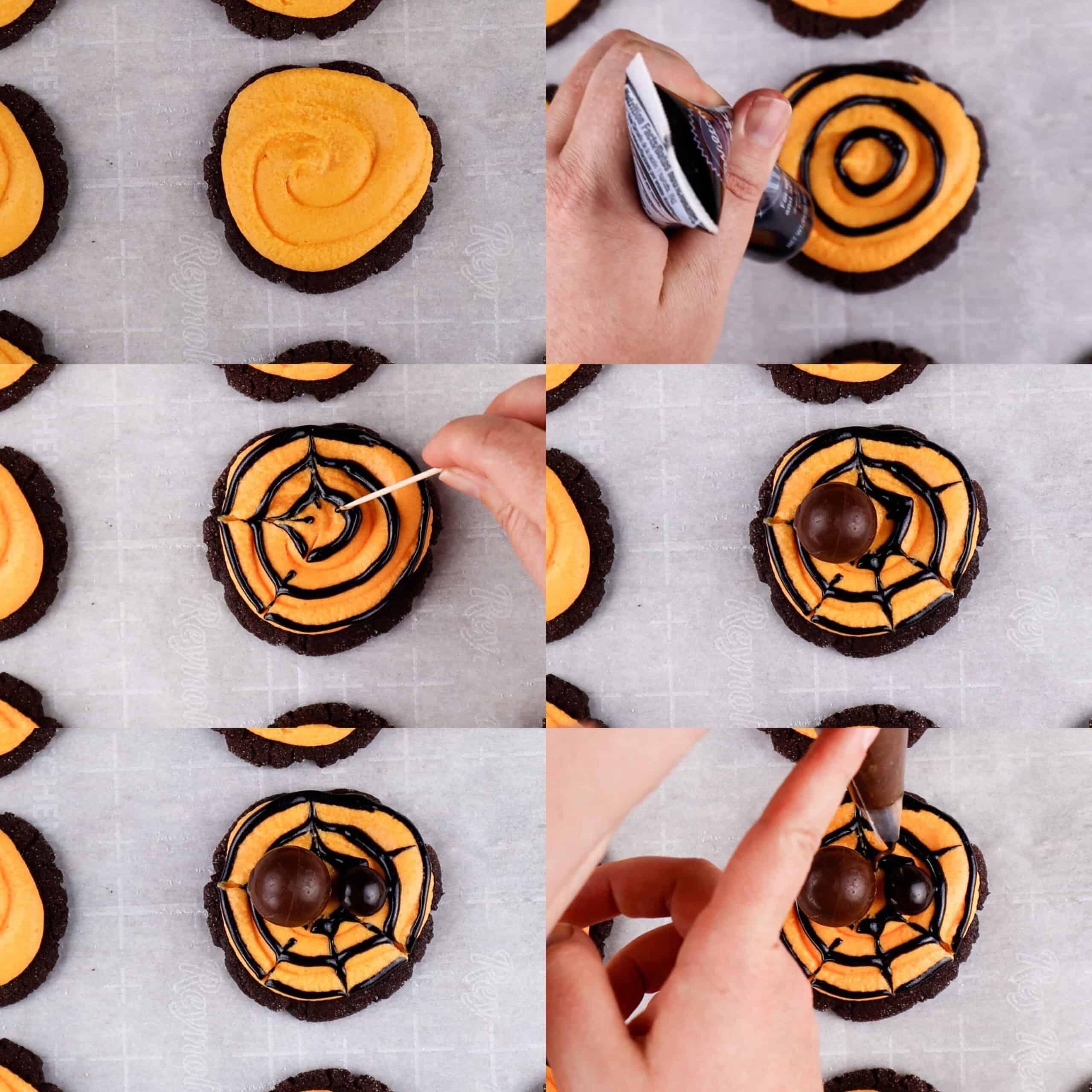 Halloween Spider Cookies process shots