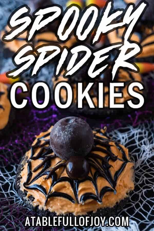 Spider Cookies, These spider cookies are super fun to make and really tasty! A chocolate sugar cookie topped with delicious buttercream and a lindor truffle spider! YUM! #atablefullofjoy #halloween #sugarcookie #spider #cookie #monster #party #kidcrafts