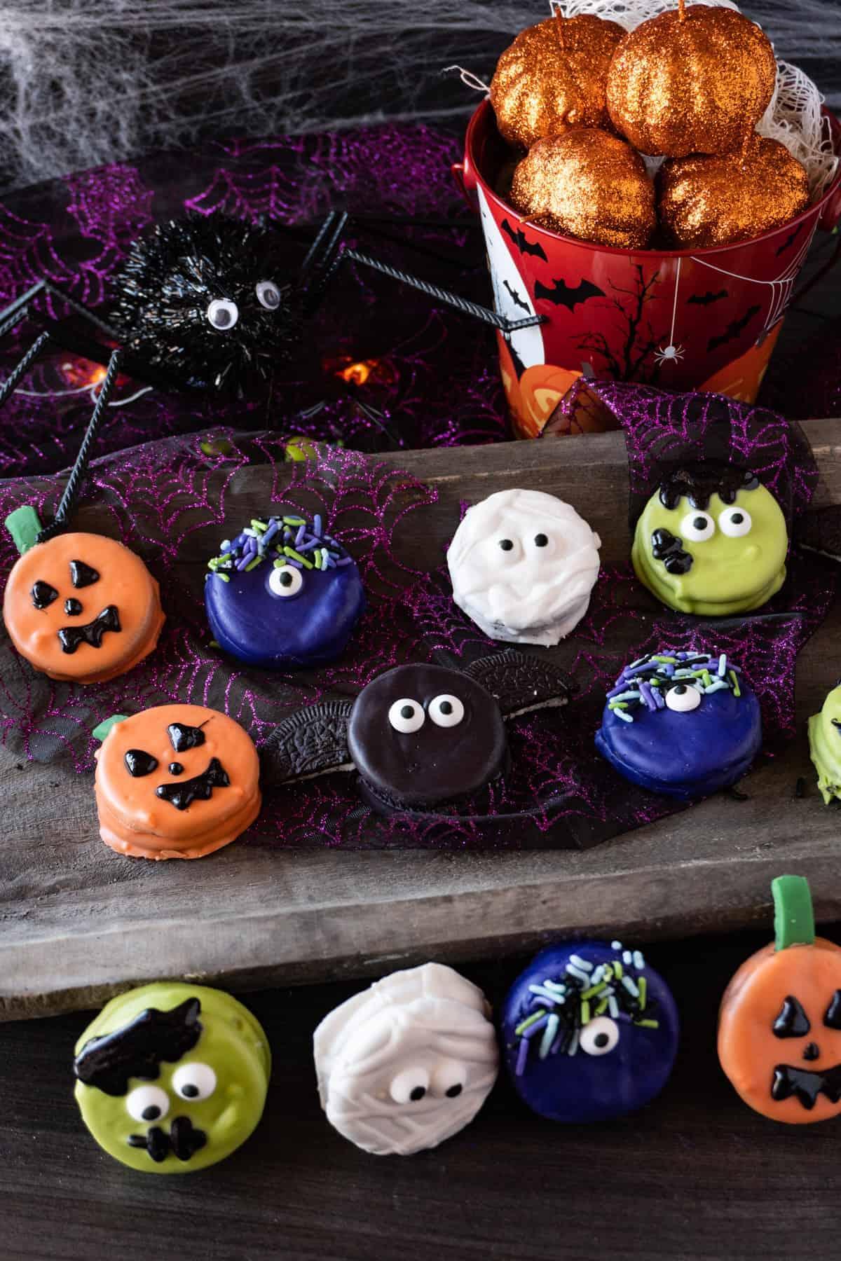 all oreo halloween treats on tray