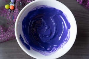 Purple candy melts melted