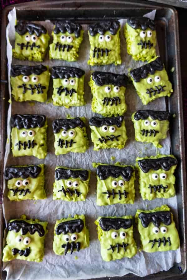 these frankenstein halloween rice krispie treats are fun easy to make and spookly delicious