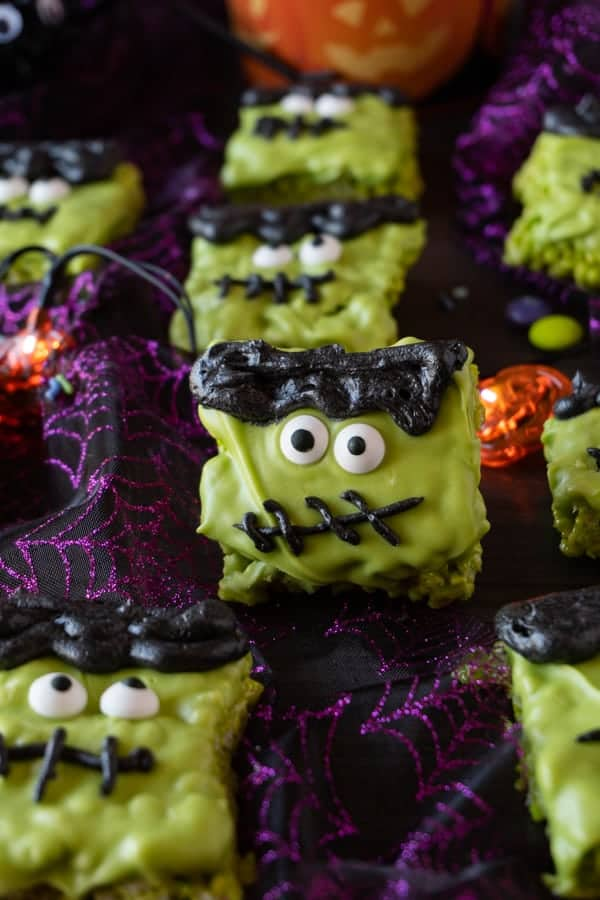 Frankenstein Halloween Rice Krispie Treats • A Table Full Of Joy