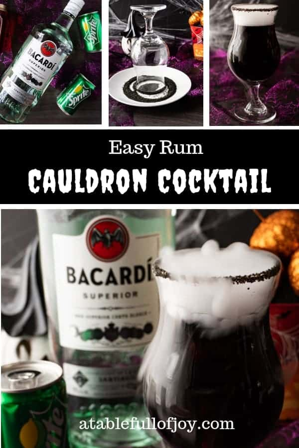 This Cauldron Cocktail is perfect for any Halloween get-together! It's spooky, tasty, and an easy to make rum cocktail! #atablefullofjoy #shop #ad #halloween #cocktail #spooky #pizza #bacardi #sprite #cocktails