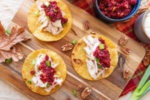 Tacos on cutting board
